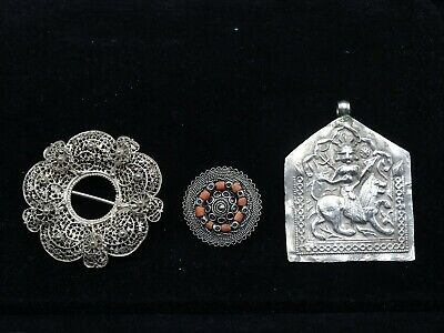 Lot Of Antique Sterling Silver Hand-Crafted Jewelry Pieces