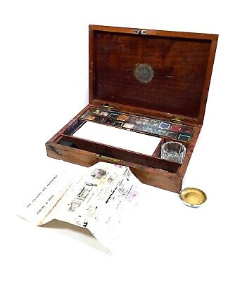 Antique Reeves Wooden Mahogany Artists Box / Watercolour Set / Art Kit / Artist