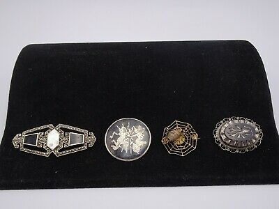 Four Piece Lot Of  Antique And Vintage Sterling Silver Brooches