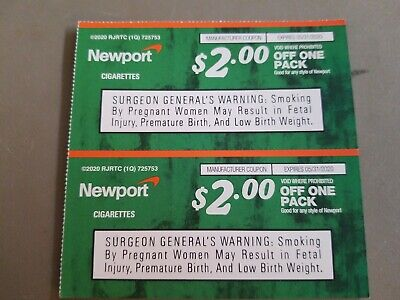Two (2) NEWPORT Cigarette Coupons, exp 5/31/2020
