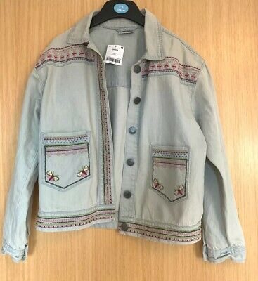 Next Girls Denim Jacket Age 11 Embroidered Casual Sequin Butterflies Pockets
