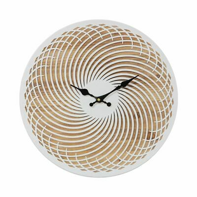 Large Modern  40Cm Laser Cut Wood / Metal Spiral Wall Clock. New.wooden