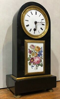 Signed French Silk Thread Empire Period Open Pendulum Marble Mantel Clock