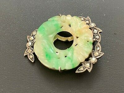 Antique Asian Chinese Carved Jadeite and Marcasite Dress Clip Green Yellow White