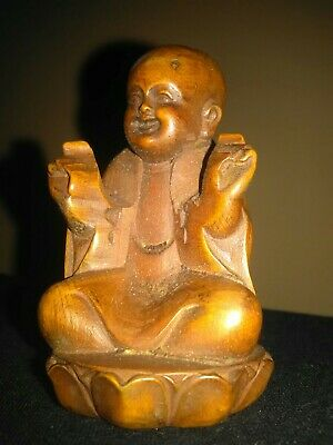 Chinese Hand Carved Boxwood Buddha On Lotus Base Statue Figure Ornament