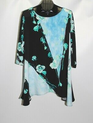 NWOT Alfani Women's Plus Size 2X Black Blue Floral High Low Tunic Top