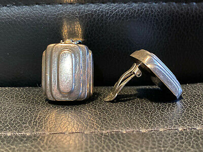 Vtg Sterling Silver Abstract Modernist Clip EARRINGS Mid Century Signed ZINA