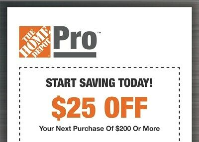 Home Depot $25 off $200 1COUPON-Instant-InStore Exp 4/5