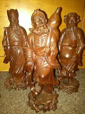 6x Vintage Antique Chinese Hand Carved Boxwood Statue Figure Ornament Collection