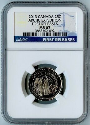 2013 Canada Ngc First Releases Ms67 Arctic Expedition Quarter 25C! Top Pop!