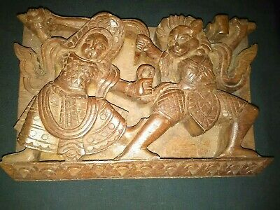Vintage Chinese Hand Carved Deity Warrior Plaque Wall Hanging Statue Ornament