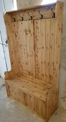 New Handmade 4ft Waxed Solid Pine Monks Bench Coat Stand ...Free Uk Delivery
