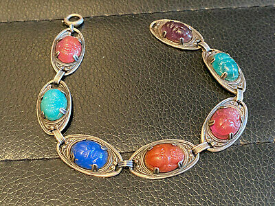 Vintage Antique Egyptian Sterling Silver Carved Multi Gem Stone SCARAB Bracelet