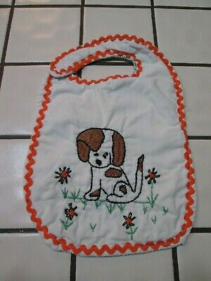 Hand Embroidered Vintage Baby Bib PUPPY