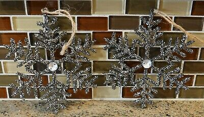 New Pottery Barn Large SILVER BEADED SNOWFLAKE Holiday Ornaments - Set of 2