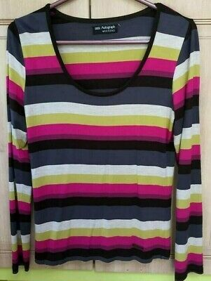 M&S Marks & Spencer 💗 Autograph size 8 top blouse stripes pink green black New.