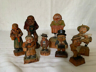 Vintage Wood Carved Figurines - Lot of 8 - Trygg style