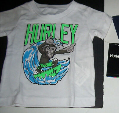New Hurley short sleeve tee T shirt boys navy blue or white monkey 12M 12 month