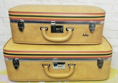 Vintage Ventura AirNita 2 piece luggage set tan beautiful Retro 70s carryon
