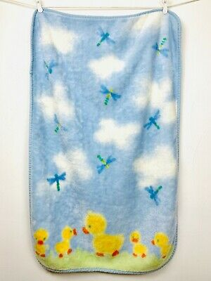 Carters Dragonflies Ducks Baby Blanket Luxe Plush Crib Throw Clouds Blue Yellow