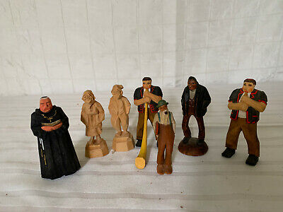 Miniature Vintage Wood Carved Figurine Folk Art - Lot of 7 -- TRYGG style