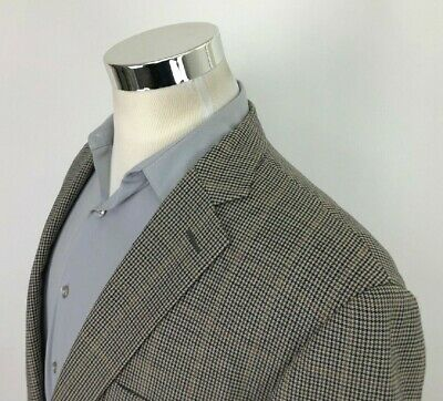 Pendleton Mens 46L Beige Blue Gray Houndstooth Sport Coat 2 Button Wool Blazer
