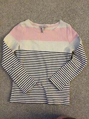 Joules Long Sleeve Girls Striped T-shirt Top. Age 7-8.
