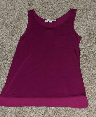 Ann Taylor Loft Fuschia/Purple XXSP NWT Knit w/Woven Bottom Top/Tank