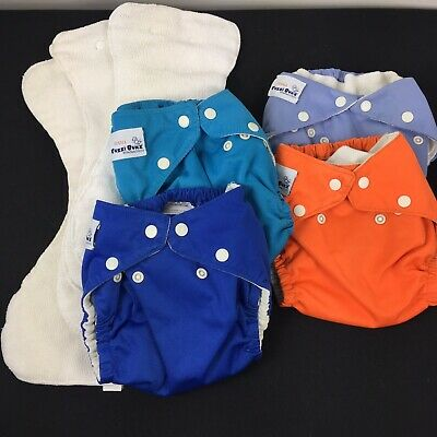 Fuzzibunz Lot 4 Cloth Reusable Washable Baby Diapers Adjustable & Inserts Small