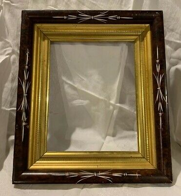 Antique Victorian EASTLAKE Walnut White Carving GOLD Picture Frame 12 1/2x14 1/2