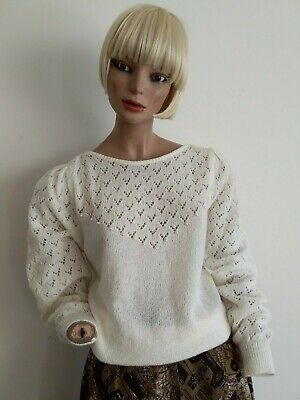 MOVIN FREE VTGE 80s Open Eyelet Pattern with Pearl Bead L/S Knitwear Top S-M