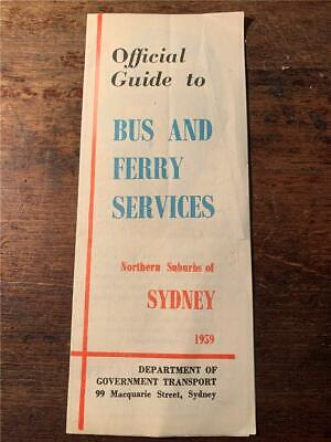 1959 Guide Bus Ferry Services Northern Suburbs Sydney map time table steamer