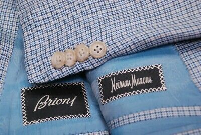 BRIONI men's sport jacket coat cashmere silk light blue check US 48L