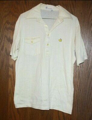 "Vintage 'MASTERS"" 70s 80s Pocket Polo Shirt Yellow GOLF Augusta National"