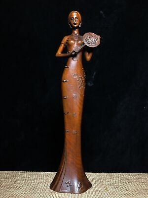 Collectable Old Boxwood Hand-Carve Elegant China Classical Belle Decorate Statue