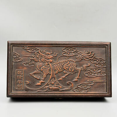 Collectable China Old Boxwood Hand-Carved Myth Dragon Moral Bring Luck Jewel Box
