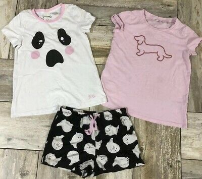 Girls Sz 10 PETER ALEXANDER JNR Pyjama Set Shorts And 2x Tops