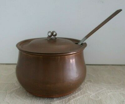 vintage copper LIDDED Stove top COOKING POT with LADLE