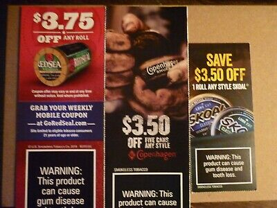 Copenhagen, Skoal and Red Seal coupons-$10.75 Value-All Expire 05/02/2020