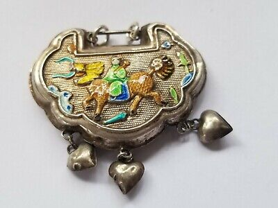 Antique Chinese Export Puffy Heart Charms &  Enamel Silver Dragon Horse Pendant