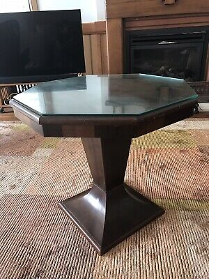 Art Deco Walnut Occasional Side Table With Glass Top