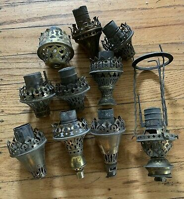 Lot antique Victorian era gas light fixture lamp parts Lindsay and others