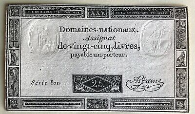🇫🇷 France 25 Livres 6/6/1793 Currency With Embossing & Watermark.