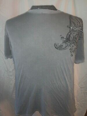 Gray Affliction Dead Or Alive Graphic T-Shirt - Size = Large