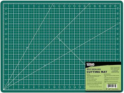 """US Art Supply 18"""" x 24"""" GREEN/BLACK Professional Self Healing 5-Ply Double Sided"""
