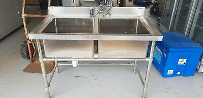 Commercial  Stainless Steel Double Sink 700X1200 304 Grade Bench