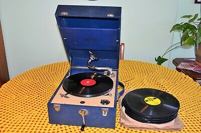 DECCA 50 WIND-UP GRAMOPHONE with approx 150 RECORDS and NEEDLES