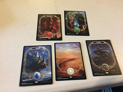 mtg 5 non-foil Unsanctioned Full art lands, unplayed, 1 of each