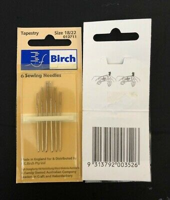 Birch tapestry embroidery needles, 6 needles. size 18/22. new unused