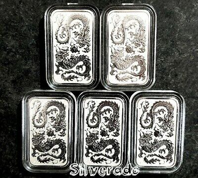5 X 2020 Dragon 1 oz Silver Rectangle Bullion Coin Bar Perth Mint 99.99% Ag